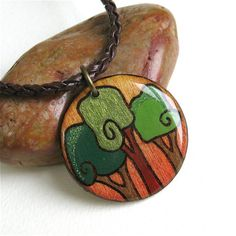 Swirly Trees Wood Burned Circle Pendant Necklace - Lightweight - Hand Painted - Made in Canada