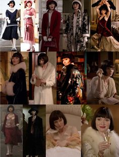 """Miss Fisher's Fabulous Frocks Outfit Recap - Season 1, Episode 1 - """"Cocaine Blues"""" Not counting the towel and robe she wears in the turkish bath-house, Phyrne clocks in at 13 outfits in this episode. Vintage Dresses, Vintage Outfits, Vintage Fashion, Timeless Fashion, Pink Chiffon Dress, Murder Mysteries, Outfits With Hats, Trendy Outfits, Navy Blue Dresses"""