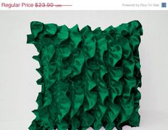 10 OFF Emerald Green Ruffle Pillow  Decorative by AmoreBeaute