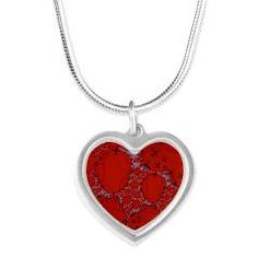 Flying in Fractals Silver Heart Necklace> Red Designs> Rosemariesw Digital Designs