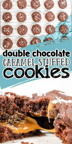 Caramel chocolate chip cookies, or more accurately named Salted Caramel Stuffed Double Chocolate Cookies are a decadent and delicious cookie that is sure to be a hit with your guests. They are made from the most scrumptious chocolate dough, filled with caramel, and my mouth is watering just thinking about these! Caramel Chocolate Chip Cookies, Double Chocolate Cookies, Decadent Chocolate, Yummy Cookies, Sweet Tooth, Goodies, Desserts, Recipes, Food