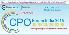 """Hurry! Nomination Deadline: 20th May 2015 for the """"3rd Annual CPO Forum India & Awards 2015"""" - https://t.co/gbpilvxyGa"""