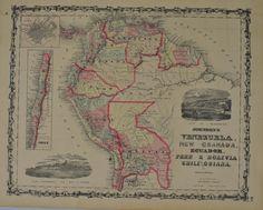 Venezuela Ecuador Peru Bolivia Chile Johnson Hand Colored Map 1860