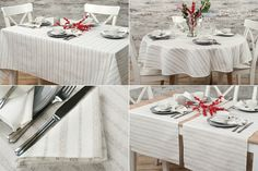 White with natural linen stripes linen table collection, includes tablecloth, table runner and table napkins.
