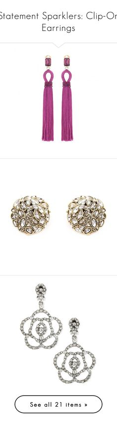 """""""Statement Sparklers: Clip-On Earrings"""" by polyvore-editorial ❤ liked on Polyvore featuring cliponearrings, jewelry, earrings, purple, purple jewelry, clip earrings, oscar de la renta earrings, oscar de la renta jewelry, purple earrings en metallic"""
