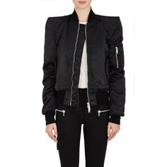 Ben Taverniti Unravel Project Women's Tech-Twill Insulated Bomber... ($1,235) ❤ liked on Polyvore featuring outerwear, jackets, black, padded jacket, twill jacket, flight jacket, logo jackets and zip front jacket