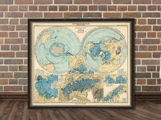 World map - Polar view of the Earth - Polar ansicht  der Erde  - German map - Archival print on Etsy, $28.00