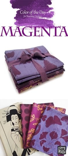 """Color of the Day: Magenta Featured is Lonni Rossi's Purple Geisha Bundle from her collection """"Geishas & Ginkgos"""" printed by Andover Fabrics Textile Design, Textile Art, Fabric Design, Magenta, Purple, Andover Fabrics, Color Of The Day, Color Palettes, Surface Design"""