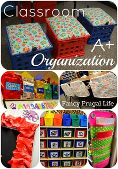 Classroom Organization Ideas, chair covers, toy bins, crate stools @Kaitlyn Adamson