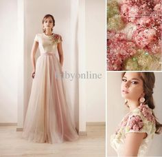 Wholesale 2013 New Sexy Short Sleeves Tulle Prom Dresses Print Beaded High Collar Sash Wedding Dresses DS03, Free shipping, $151.2-169.12/Piece | DHgate