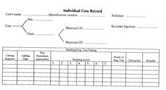 individual cow record sheet - Google Search Cattle Farming, Goat Farming, Livestock, Cattle Barn, Beef Cattle, Cattle Ranch, Cow Names, Farm Business, Funny Farm