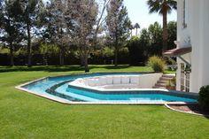 Back yard, pool moat