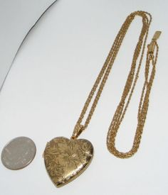 1928 double chain Heart LOCKET NECKLACE costume jewelry