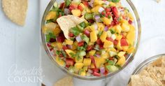 Mango Salsa With Mangos, Pineapple, Cucumber, Red Bell Pepper, Red Onion, Cilantro Leaves, Jalapeño, Lime, Cumin, Kosher Salt