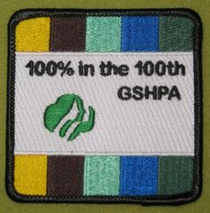 Girl Scout Heart of Pennsylvania 100th Anniversary patch. 100% in the 100th. Thank you, Emily!