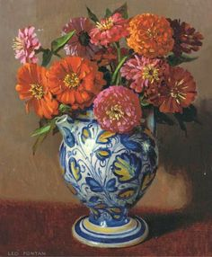 Leo Fontan Dahlias in a Porcelain Vase century Zinnias actually! Flower Vases, Flower Art, Paintings I Love, Flower Paintings, Porcelain Vase, Fine Porcelain, Zinnias, Watercolour Painting, Artist At Work