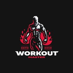 Workout master designed by Nick Molokovich. Connect with them on Dribbble; Fitness Design, Fitness Logo, Dojo, Bodybuilding Logo, Gym Logo, Esports Logo, Mascot Design, Logo Design Inspiration, Logo Design Trends