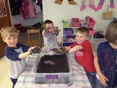Mud in the Sensory Bin! (it would be good to tell parents this was the plan for the day so they could send extra clothes)