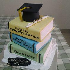 Stack of books - graduation cake