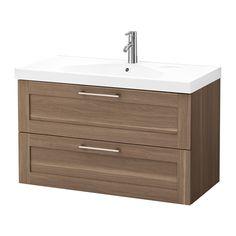GODMORGON / EDEBOVIKEN Sink cabinet with 2 drawers - walnut effect, 100x49x64 cm - IKEA