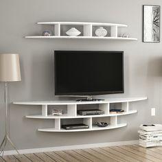 Tv Unit Furniture Design, Tv Unit Interior Design, Tv Unit Decor, Tv Wall Decor, Wall Tv, Tv Wall Shelves, Shelves Around Tv, Tv Cabinet Design, Tv Wall Design