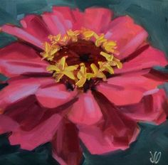 """Daily Paintworks - """"Hot Pink Zinnia"""" - Original Fine Art for Sale - © Jessica Green Acrylic Painting Inspiration, Daily Painters, Step By Step Painting, Zinnias, Fine Art Gallery, Art For Sale, Diy Art, Art Pictures, Flower Art"""