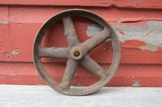 Antique Iron Wheel Industrial Cart Wheel Old by TheOldTimeJunkShop, $75.00