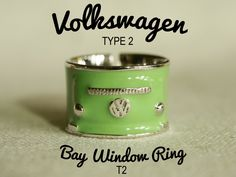 Classic Volkswagen ring - Ring - VW Type2 Bay window - Jewelry - old school - Size 54-62 - Brass Rhodium Ring - Enamel jewelry - Green - T2 by LittleWoodGifts on Etsy