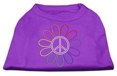Rhinestone Rainbow Flower Peace Sign Shirts Purple S (10)