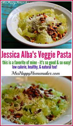 I have become a huge fan of this raw vegetable pasta! It's one of Jessica Alba's favorite recipes, & has become one of mine too.  So easy & SO delicious!