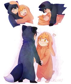 The Wolf and the Rabbit /// haikyuu chibi love boys karasuno anime