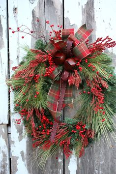 Christmas Wreath Mixed Pine Red Berries by sweetsomethingdesign, $150.00