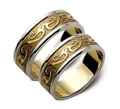 Amazing two tone gold wedding ring with an unusual design. Carved pattern makes it really original and unusual. Combination of classic and modern style. Stand out from the crowd with a such unusual wedding ring.