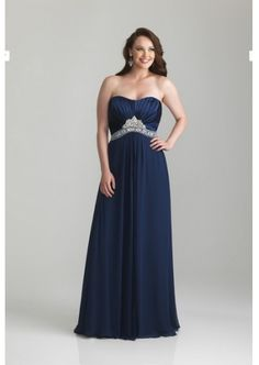 A-line Strapless Floor Length Chiffon and Charmeuse Satin Plus Size Prom Dress