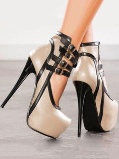 Women's Platform Stilettos High Heel Shoes Sexy Ankle Strap Nightclub all sz High Heels Boots, Platform High Heels, Black High Heels, Lace Up Heels, High Heels Stilettos, Women's Pumps, Heeled Boots, Stiletto Heels, Shoe Boots