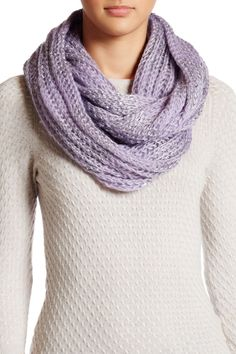 Striped Knit Sequin Infinity Scarf