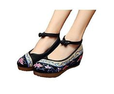 Oferta: 18.79€. Comprar Ofertas de Lazutom Vintage estilo chino bordado de mujer sandalias cómodo Casual zapatos de senderismo, color negro, talla 38 EU barato. ¡Mira las ofertas!