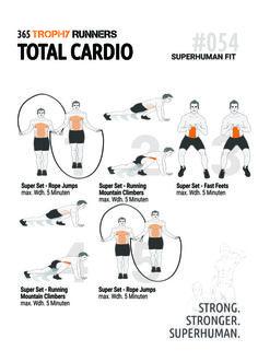 Trophy Runners 365 - Cardio Training mit verschiedenen Übungen (Springseil, Mountain Climbers, Fast Feets).  Wir freuen uns über einen Repin!