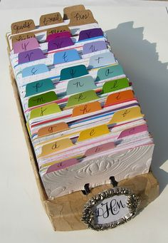 Use paint chip cards to color code yer Rolodex/index/recipes