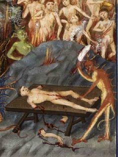 Brussels, KBR, ms. 11129, detail of f. 90. Gérard de Vliederhoven,Traité des quatre dernières choses. Illuminator: Jean Le Tavernier. Auden...