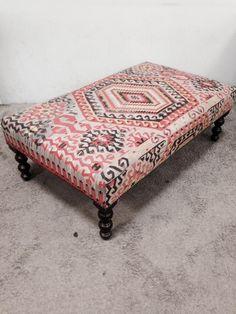George Smith Boho Chic Kilim Ottoman on Chairish.com