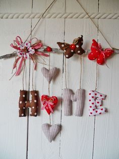 Garland Home Hearts Tilda Cottage Gift Wedding Birthday Shabby Decoration - Felt Crafts, Diy And Crafts, Diy Y Manualidades, Fabric Hearts, House Gifts, Christmas Crafts, Christmas Ornaments, Diy Garland, Felt Patterns