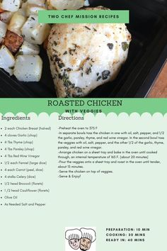 Roasted chicken with veggies. Easy and flavorful! Serving size for for four Chef Mission Roast Chicken Recipes, Roasted Chicken, 10 Minute Meals, Meals For Four, Serving Size, Healthy Meals, Meal Planning, Oven, Veggies