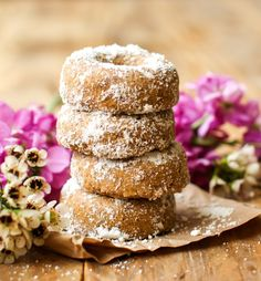Vegan Mini Powdered Donuts - FeastingonFruit.com
