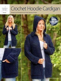 Crochet Cardigans Crochet Hoodie Cardigan to crochet for fall and winter using worsted weight yarn - Crochet Pattern for a Hoodie Cardigan Sweater Crochet Bolero, Crochet Hoodie, Crochet Coat, Crochet Cardigan Pattern, Crochet Clothes, Crochet Patterns, Crochet Sweaters, Hoodie Pattern, Poncho Patterns