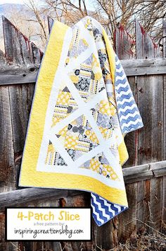 We love Lindsey's fabric choices for her design of this quilt!  Isn't it fabulous?  Lindsey's 4-patch slice quilt style is so versatile, just take a look at the different configurations you can do with this design (pics available in Lindsey's tutorial). http://www.freequiltpatterns.info/free-tutorial---4-patch-slice-quilt-by-lindsey-weight.htm