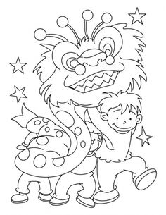 Little Kids Celebrate Chinese New Year Coloring Pages