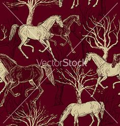 Vintage background with horses and trees vector on VectorStock®