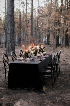 Luxe Halloween-inspired tablescape peppered with skull details, dark taper candles and moody florals. A black and jewel-toned color scheme makes this wedding day tablescape suitable for any time of the year. Witch Wedding, Gothic Wedding, Red Wedding, Fall Wedding, Wedding Reception, Invitation Halloween, Halloween Decorations, Wedding Decorations, Halloween Weddings