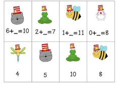 Free for Dr. Seuss A Cat with A Hat and Friends Math Centers